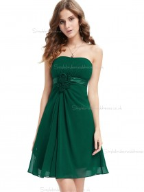 Beautiful Stunning Dark Green Chiffon Bateau A-line Mini Hand Made Flower Empire Bridesmaid Dress