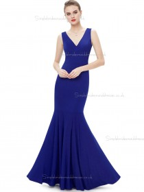 Vintage Amazing Royal Blue Satin V-neck Mermaid Floor-length Natural Bridesmaid Dress