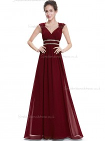 Online Best Burgundy Chiffon V-neck A-line Floor-length Beading Sash Empire Bridesmaid Dress