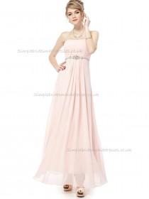 Cheap Pink A-line Chiffon Beading Floor-length Bateau Bridesmaid Dress