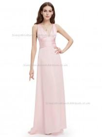 Budget Discount Pink A-line Chiffon Sash Floor-length V-neck Bridesmaid Dress