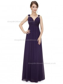 Fitted Discount Regency A-line Chiffon Beading Floor-length V-neck Bridesmaid Dress