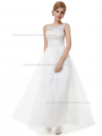 UK Girls White A-line Tulle Lace Floor-length Bateau Bridesmaid Dress