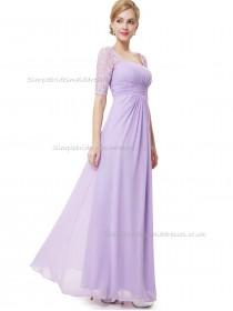 UK Lilac A-line Chiffon Lace Floor-length Bateau Bridesmaid Dress
