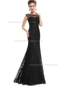 Online Romantica Black Mermaid Lace Floor-length Bateau Bridesmaid Dress