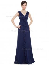 UK Girls Dark Navy A-line Chiffon Tiered Floor-length V-neck Bridesmaid Dress