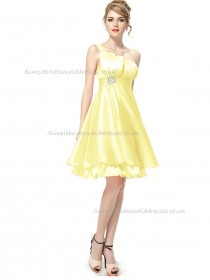 UK Best Daffodil A-line Organza Beading Knee-length One Shoulder Bridesmaid Dress