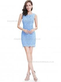 Online Romantica Blue Column / Sheath Lace Short-length Bateau Bridesmaid Dress
