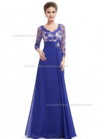 Budget Girls Royal Blue A-line Chiffon Lace Floor-length Bateau Bridesmaid Dress