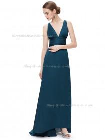 Vintage Girls A-line Chiffon Floor-length V-neck Bridesmaid Dress