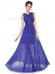 Elegant Romantica Vintage Royal Blue A-line Chiffon Lace Floor-length V-neck Bridesmaid Dress
