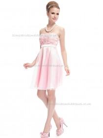 UK Romantica Pink A-line Hand Made Flower Knee-length Bateau Bridesmaid Dress