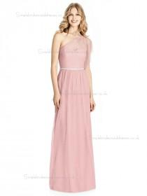 Budget Elegant Sweetheart Candy Pink Belt / Beading Floor-length A-line soft tulle Bridesmaid Dress
