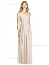 Elegant Celebrity Floor-length Pearl Pink Lux Chiffon Draped V-neck A-line Bridesmaid Dress