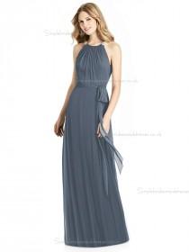 Elegant Bow Scoop silverstone A-line Lux Chiffon Floor-length Bridesmaid Dress