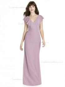 UK Girls V-neck Tiered Column / Sheath Chiffon suede rose floor-length Bridesmaid Dress