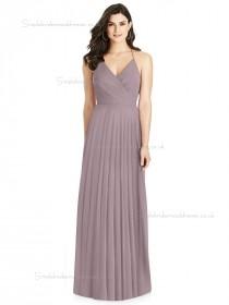 Elegant Best Plus Size Draped V-neck A-line desert rose Chiffon floor-length Bridesmaid Dress