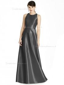 Cheap Stunning A-line floor-length Scoop Satin Gray Bridesmaid Dress