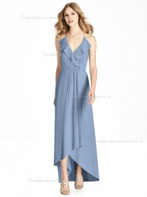 Budget Girls Tiered V-neck A-line floor-length cloudy Lux Chiffon Bridesmaid Dress