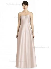 Online Satin A-line floor-length Pearl Pink Sweetheart Bridesmaid Dress