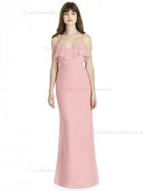 Online Stunning Chiffon Tiered Pink Column / Sheath V-neck floor-length Bridesmaid Dress