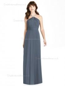 UK Best silverstone Chiffon A-line Beading floor-length Bridesmaid Dress