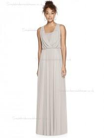 Beautiful Amazing A-line oyster V-neck floor-length Chiffon Bridesmaid Dress