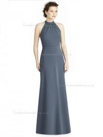 Elegant Girls Gray A-line Satin floor-length Bow Bridesmaid Dress