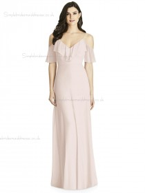 Fitted Tiered A-line Pink Chiffon Floor-length V-neck Bridesmaid Dress