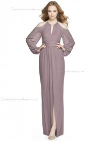 Beautiful Romantica Chiffon A-line floor-length Split desert rose Scoop Bridesmaid Dress