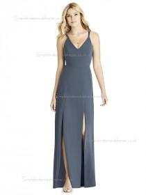 Elegant Satin A-line Gray Split floor-length Bridesmaid Dress