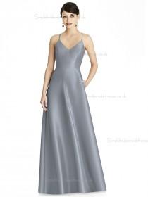 Girls V-neck A-line Silver floor-length Satin Bridesmaid Dress