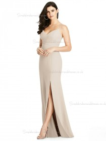 Online Discount Champagne Split Floor-length Mermaid V-neck Elastic Satin Bridesmaid Dress