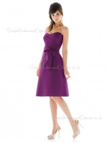 Satin Sweetheart A-line Knee-length Sleeveless Natural Purple Zipper Bridesmaid Dress