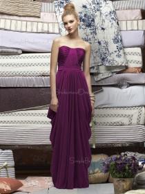 Chiffon Bateau Sheath Floor-length Sleeveless Natural Purple Zipper Bridesmaid Dress