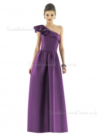 Mikado One Shoulder A-line Floor-length Sleeveless Natural Purple Backless Bridesmaid Dress