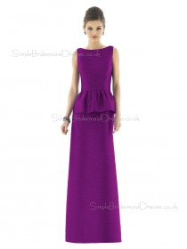 Dupioni Bateau Sheath Floor-length Sleeveless Natural Purple Backless Bridesmaid Dress