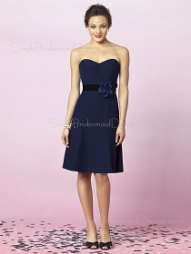 Flowers/Sash Natural Dark-Navy Zipper A-line Bridesmaid Dress