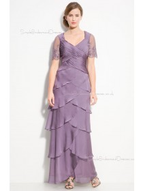 Chiffon Short-Sleeve A-line V-neck Zipper Bridesmaid Dress