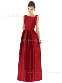 Zipper Dropped Red Floor-length A-line Bridesmaid Dress