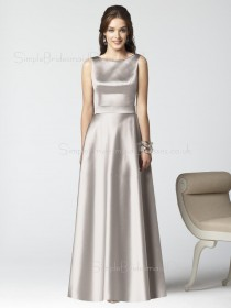 Satin Sleeveless Natural Floor-length Zipper Bridesmaid Dress