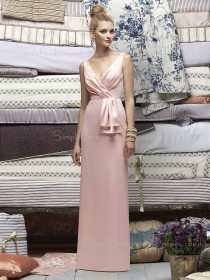 Ruffles Elastic-Satin Sheath Pink Sleeveless Bridesmaid Dress
