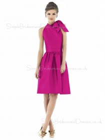 High-Neck Sleeveless Fuchsia Dropped Knee-length Bridesmaid Dress