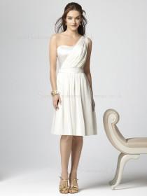 White Draped/Ruffles Chiffon A-line Zipper Bridesmaid Dress