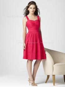Taffeta Natural Knee-length A-line Straps Bridesmaid Dress