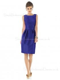 Sheath Zipper Ruffles/Bow Bateau Sleeveless Bridesmaid Dress