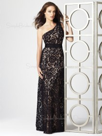Sleeveless Black Sash A-line One-Shoulder Bridesmaid Dress