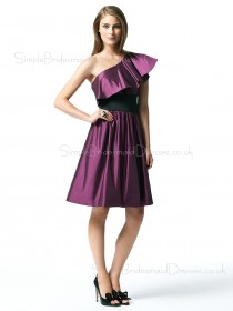 Zipper Grape Knee-length Natural Taffeta Bridesmaid Dress