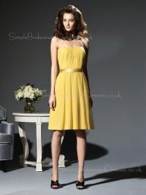 Zipper Knee-length Sleeveless Natural Chiffon Bridesmaid Dress