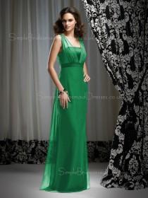 Zipper Chiffon Sleeveless Floor-length Natural Bridesmaid Dress